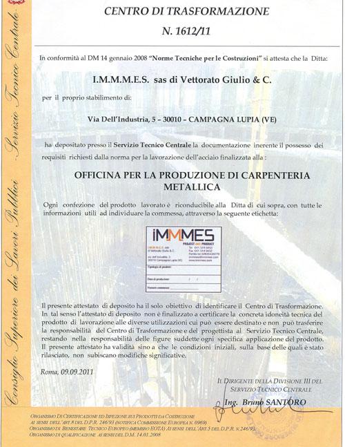 Certificazione-IMMMES---CENTRO-DI-TRASFORMAZIONE