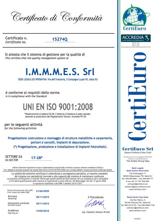 Certificazione-IMMMES---CERI-ISO-9001