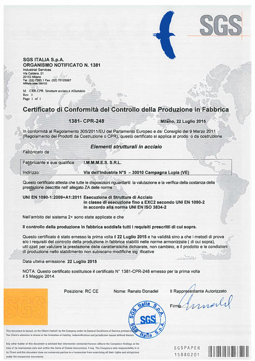 Certificazione-IMMMES---SGS---ISO-1090